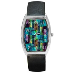 Abstract Square Wall Barrel Metal Watches by Costasonlineshop