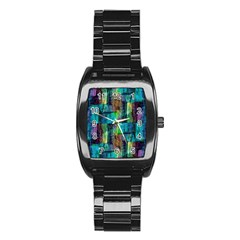 Abstract Square Wall Stainless Steel Barrel Watch by Costasonlineshop