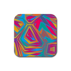 Distorted Shapes			rubber Square Coaster (4 Pack by LalyLauraFLM