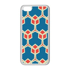 Orange Shapes On A Blue Background			apple Iphone 5c Seamless Case (white) by LalyLauraFLM