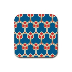 Orange Shapes On A Blue Backgroundrubber Square Coaster (4 Pack by LalyLauraFLM