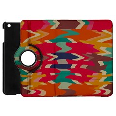 Retro Colors Distorted Shapes			apple Ipad Mini Flip 360 Case by LalyLauraFLM
