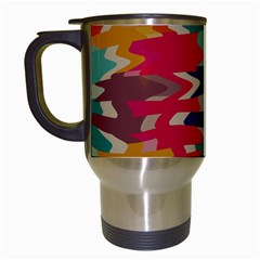 Retro Colors Distorted Shapes Travel Mug (white) by LalyLauraFLM