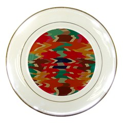 Retro Colors Distorted Shapes			porcelain Plate by LalyLauraFLM