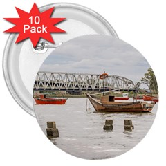 Boats At Santa Lucia River In Montevideo Uruguay 3  Buttons (10 Pack)  by dflcprints
