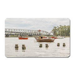 Boats At Santa Lucia River In Montevideo Uruguay Magnet (rectangular) by dflcprints