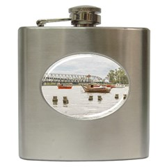 Boats At Santa Lucia River In Montevideo Uruguay Hip Flask (6 oz) by dflcprints