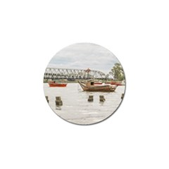 Boats At Santa Lucia River In Montevideo Uruguay Golf Ball Marker (4 Pack) by dflcprints