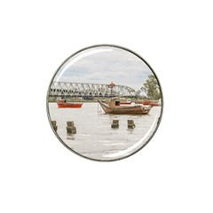 Boats At Santa Lucia River In Montevideo Uruguay Hat Clip Ball Marker by dflcprints