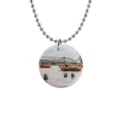 Boats At Santa Lucia River In Montevideo Uruguay Button Necklaces by dflcprints