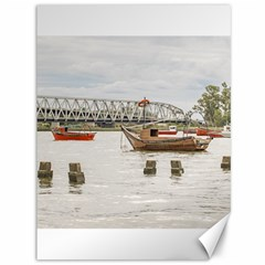 Boats At Santa Lucia River In Montevideo Uruguay Canvas 36  X 48   by dflcprints