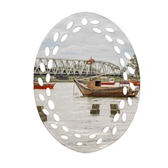Boats At Santa Lucia River In Montevideo Uruguay Oval Filigree Ornament (2 Side)  by dflcprints