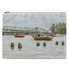 Boats At Santa Lucia River In Montevideo Uruguay Cosmetic Bag (xxl)  by dflcprints