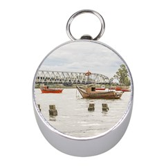 Boats At Santa Lucia River In Montevideo Uruguay Mini Silver Compasses by dflcprints