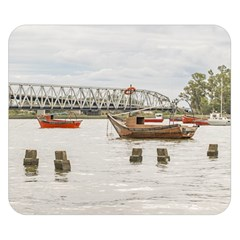 Boats At Santa Lucia River In Montevideo Uruguay Double Sided Flano Blanket (small)  by dflcprints