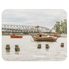 Boats At Santa Lucia River In Montevideo Uruguay Double Sided Flano Blanket (medium)  by dflcprints
