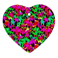 Colorful Leaves Heart Ornament (2 Sides) by Costasonlineshop