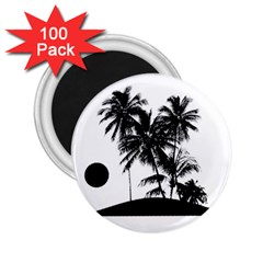 Tropical Scene Island Sunset Illustration 2.25  Magnets (100 pack)  by dflcprints