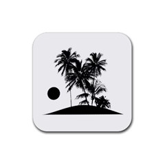 Tropical Scene Island Sunset Illustration Rubber Coaster (square)  by dflcprints