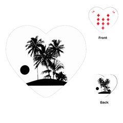 Tropical Scene Island Sunset Illustration Playing Cards (heart)  by dflcprints