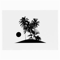 Tropical Scene Island Sunset Illustration Large Glasses Cloth (2 Side) by dflcprints
