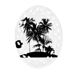 Tropical Scene Island Sunset Illustration Ornament (oval Filigree)  by dflcprints
