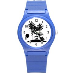 Tropical Scene Island Sunset Illustration Round Plastic Sport Watch (s) by dflcprints