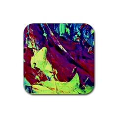 Abstract Painting Blue,yellow,red,green Rubber Coaster (square)  by Costasonlineshop