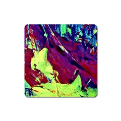 Abstract Painting Blue,yellow,red,green Square Magnet by Costasonlineshop