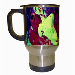 Abstract Painting Blue,yellow,red,green Travel Mugs (white) by Costasonlineshop