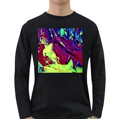 Abstract Painting Blue,yellow,red,green Long Sleeve Dark T Shirts by Costasonlineshop