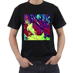 Abstract Painting Blue,yellow,red,green Men s T Shirt (black) by Costasonlineshop