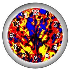 Fire Tree Pop Art Wall Clocks (silver)  by Costasonlineshop