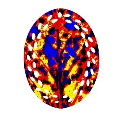 Fire Tree Pop Art Ornament (oval Filigree)  by Costasonlineshop