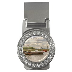 Fishing And Sailboats At Santa Lucia River In Montevideo Money Clips (cz)  by dflcprints