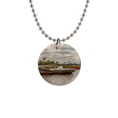 Fishing And Sailboats At Santa Lucia River In Montevideo Button Necklaces by dflcprints