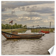 Fishing And Sailboats At Santa Lucia River In Montevideo Canvas 20  X 20   by dflcprints