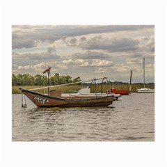 Fishing And Sailboats At Santa Lucia River In Montevideo Small Glasses Cloth (2 Side) by dflcprints
