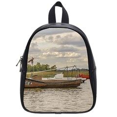 Fishing And Sailboats At Santa Lucia River In Montevideo School Bags (small)  by dflcprints