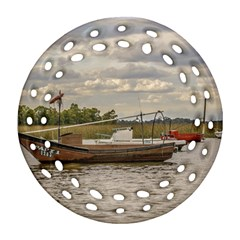 Fishing And Sailboats At Santa Lucia River In Montevideo Round Filigree Ornament (2side) by dflcprints