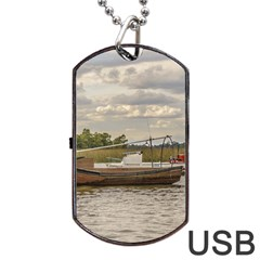 Fishing And Sailboats At Santa Lucia River In Montevideo Dog Tag Usb Flash (two Sides)  by dflcprints
