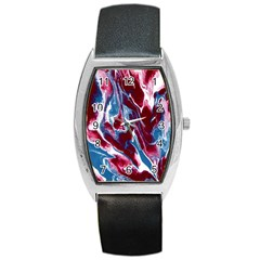 Blue Red White Marble Pattern Barrel Metal Watches by Costasonlineshop