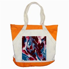 Blue Red White Marble Pattern Accent Tote Bag  by Costasonlineshop