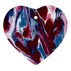 Blue Red White Marble Pattern Heart Ornament (2 Sides) by Costasonlineshop