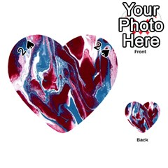 Blue Red White Marble Pattern Playing Cards 54 (heart)  by Costasonlineshop