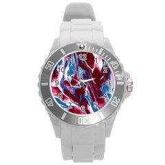 Blue Red White Marble Pattern Round Plastic Sport Watch (l) by Costasonlineshop