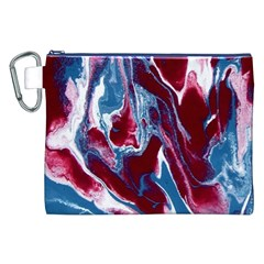 Blue Red White Marble Pattern Canvas Cosmetic Bag (xxl)  by Costasonlineshop