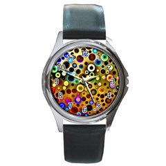 Colourful Circles Pattern Round Metal Watches by Costasonlineshop