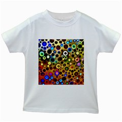 Colourful Circles Pattern Kids White T-Shirts by Costasonlineshop