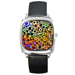Colourful Circles Pattern Square Metal Watches by Costasonlineshop